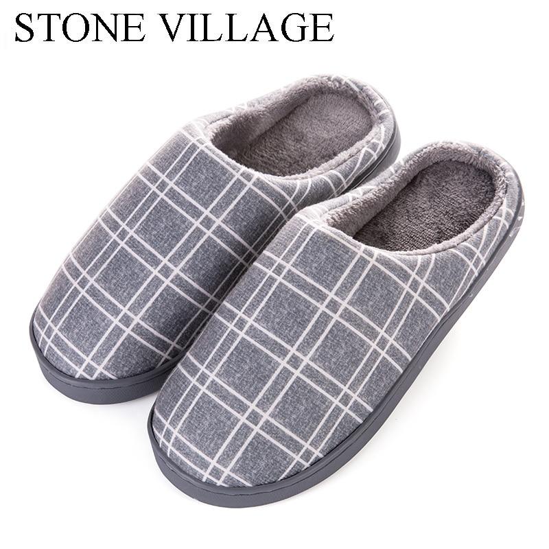 STONE VILLAGE Gingham Winter Women Slippers Non-Slip Home Slippers Lovers Warm Cotton Slippers Men Indoor Slip-On Flat Shoes цены