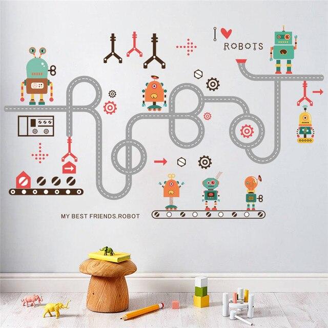 Merveilleux Dessin Animé Voiture Robot Stickers Muraux Pour Enfants Chambre Garçon  Enfants Chambre Stickers Muraux Fenêtre Affiche