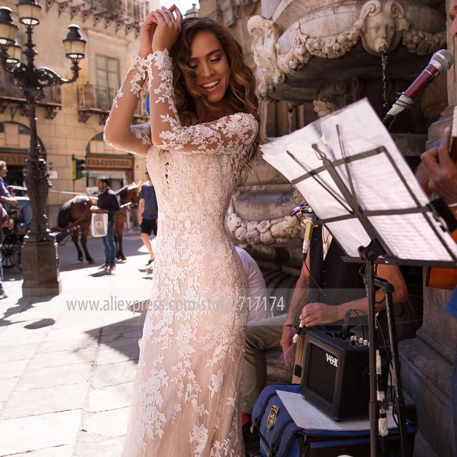 Illusion Tulle Scoop Neckline Long Sleeve Lace Applique Mermaid Wedding Dress Button Back Sweep Train Bridal Dress La Novia