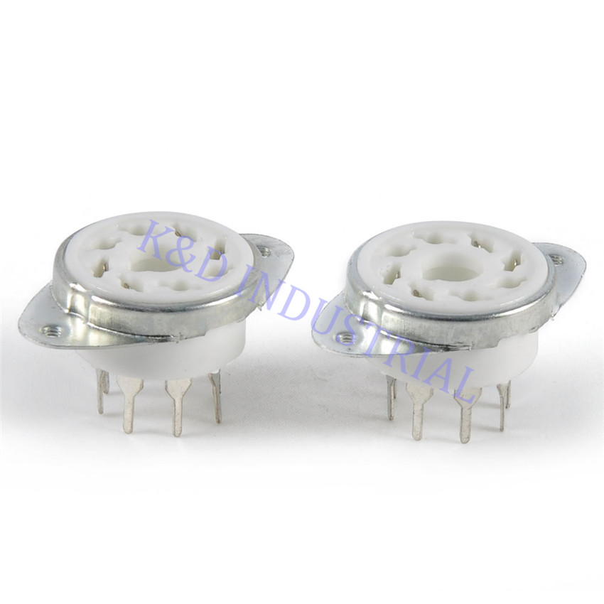 5pcs Octal 8Pin Ceramic Vacuum Tube Socket Top Mount for EL34 6550 KT88 KT66 6SN7 5U4G Valve Base DIY Audio Amp in Smart Power Socket Plug from Consumer Electronics