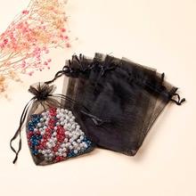 100pcs Organza Bags, Rectangle, Black, about 10cm wide, 15cm