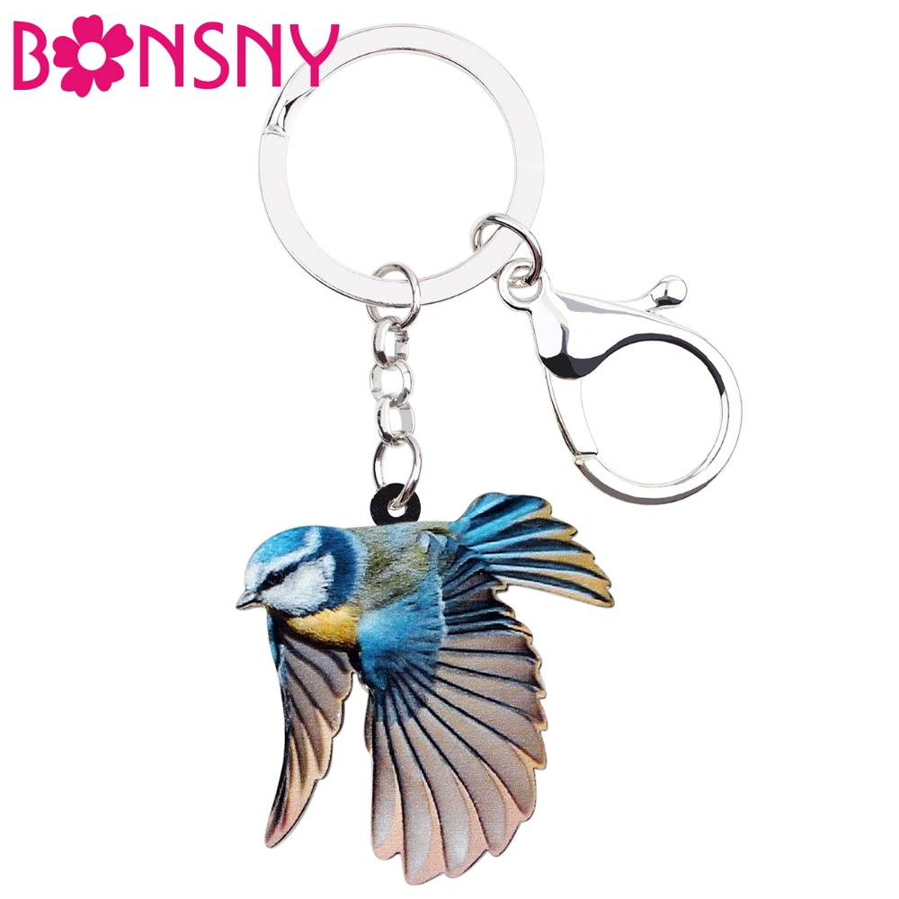 Bonsny Acrylic Sweet Blue Tit Bird Key Chain Keychain Ring Holder Cute Animal Gift Jewelry For Women Girls Bag Car Wallet Charms