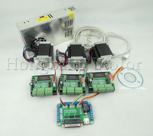 CNC Router Kit 3 Axis, 3pcs TB6560 1 axis stepper motor driver +one breakout board +3pcs Nema23 270 Oz-in motor+one power supply mach3 cnc router kit 3 axis 4nm 4a nema34 stepper motor drive kit 3pcs power supply breakout board for lathe engraving machine