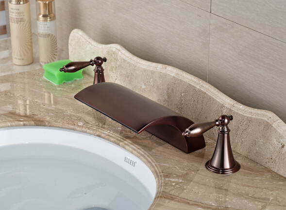 купить The Best Quality Red Oil Rubbed Bronze Bathroom Waterfall Basin Faucet Sink Mixer Deck Mounted по цене 4385.84 рублей