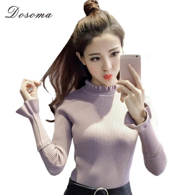 dosoma Turtleneck Thicken slim Knitting Women Sweater Pullover Flare Sleeves ruffles Sweaters Womens Tops sweet Wear knitt tops