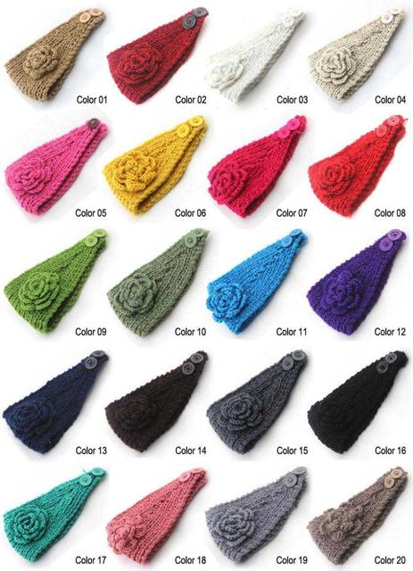 Women Ladies Knit Flower Crocheted Headband Ear Warmer Free Knitting