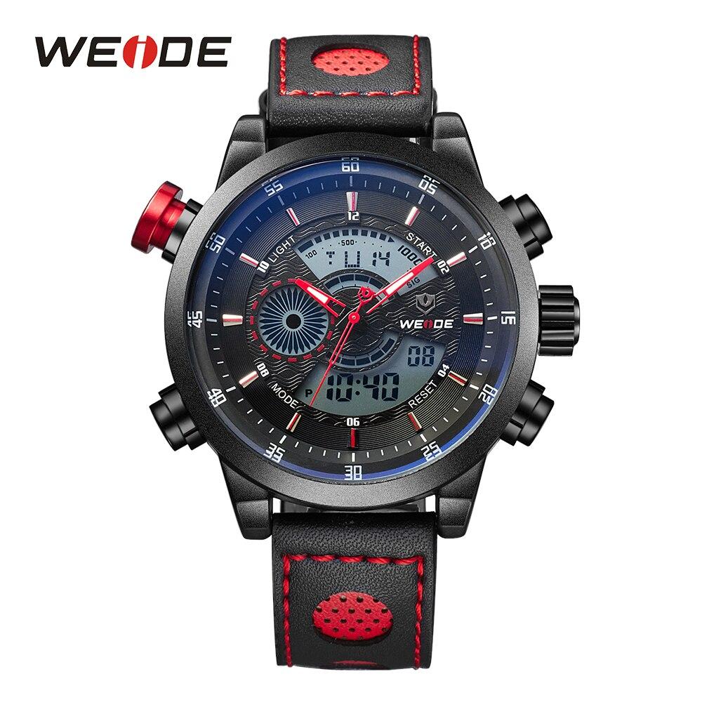 WEIDE Degli Uomini di Sport Orologi Digitali Al Quarzo Data Allarme Cronografo Cinturino In Pelle Orologi Da Polso Orologio Reloj Hombre Relogio Uomo Regalo