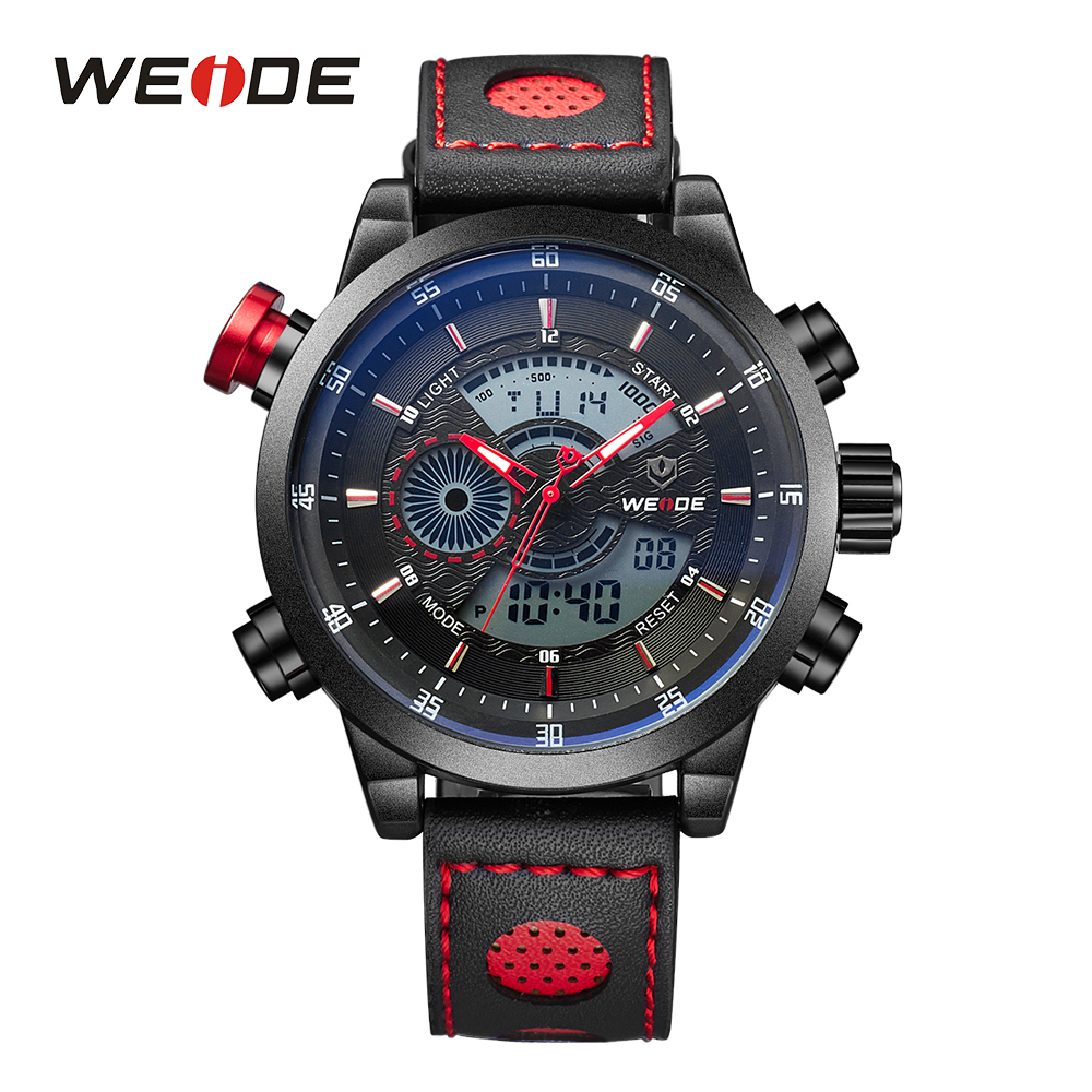 WEIDE Men Sports Watches Quartz Digital Date Alarm Chronograph Leather Strap Wristwatches Clock Reloj Hombre Relogio все цены