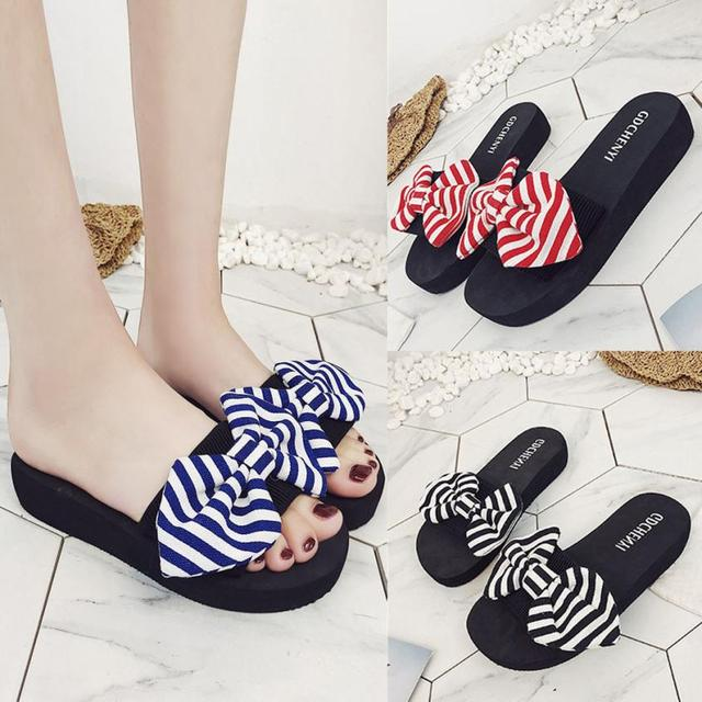a5a9ce42ae9770 SAGACE Shoes Flip flops fashion Bow Summer Sandals Slipper Indoor Outdoor  Flip-flops Beach Shoes casual shoes women 2018JU26