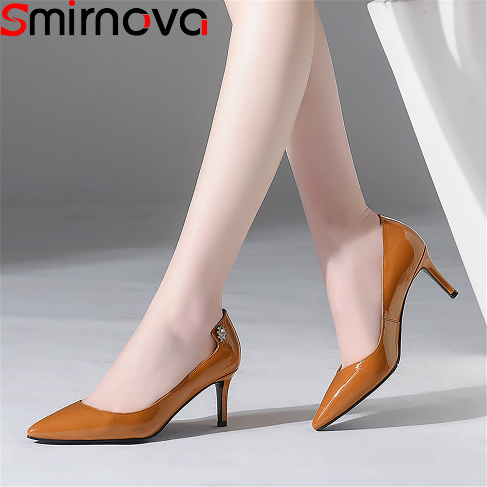 Smirnova 2018 spring autumn shoes woman pointed toe shallow elegant pumps women shoes thin heel genuine