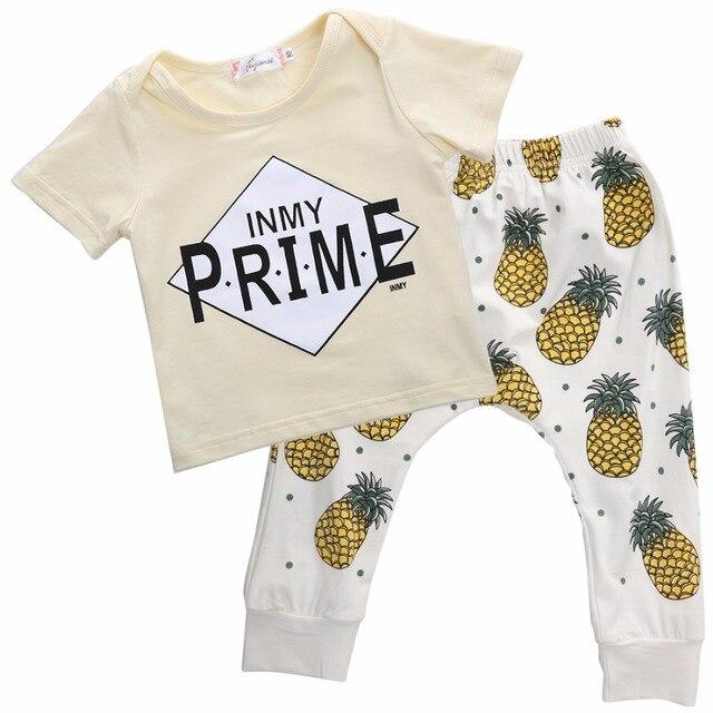 c2d65a704555fb Baby Jongen Kleding Baby Kleding Babykleding Sets Katoen Brief ananas korte  mouw 2 stks t-