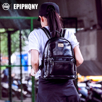 Epiphqny Brand Women Black Backpack Solid Color Simple Bag For Teenager Girl Daily Small PU School