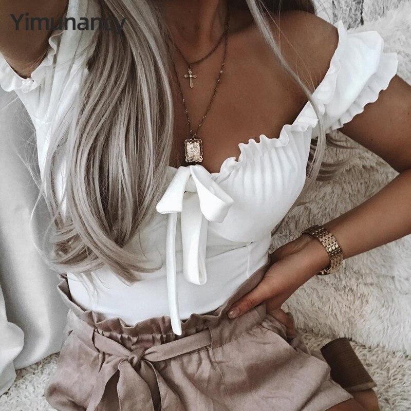 Summer Ruffles Crop Tops Women Lace Up Tops Off Shoulder Tops Ladies Elegant Bowknot Sexy Tops Streetwear Blusas