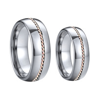 Custom geniune rose gold Twist Chain Men's jewelry anniversary couple Wedding band tungsten carbide Rings for women