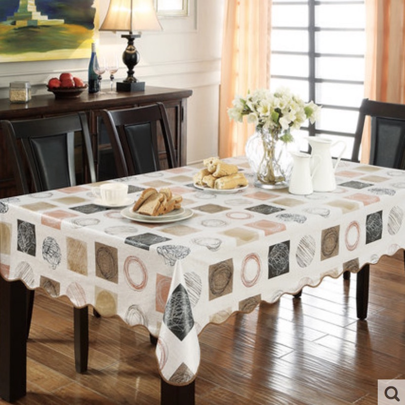 flannel backed vinyl pvc tablecloth plastic waterproof table cloth spread cover rectangular square round 106265cm 9 sizes - Vinyl Tablecloths