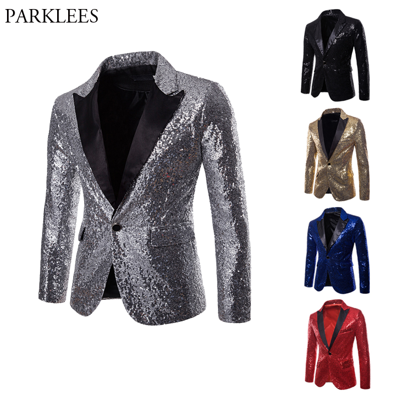 86c555541 Shiny Sliver Sequin Glitter Suit Jacket Men Nightclub Party Prom Mens Sequin  Jacket Costume Homme DJ