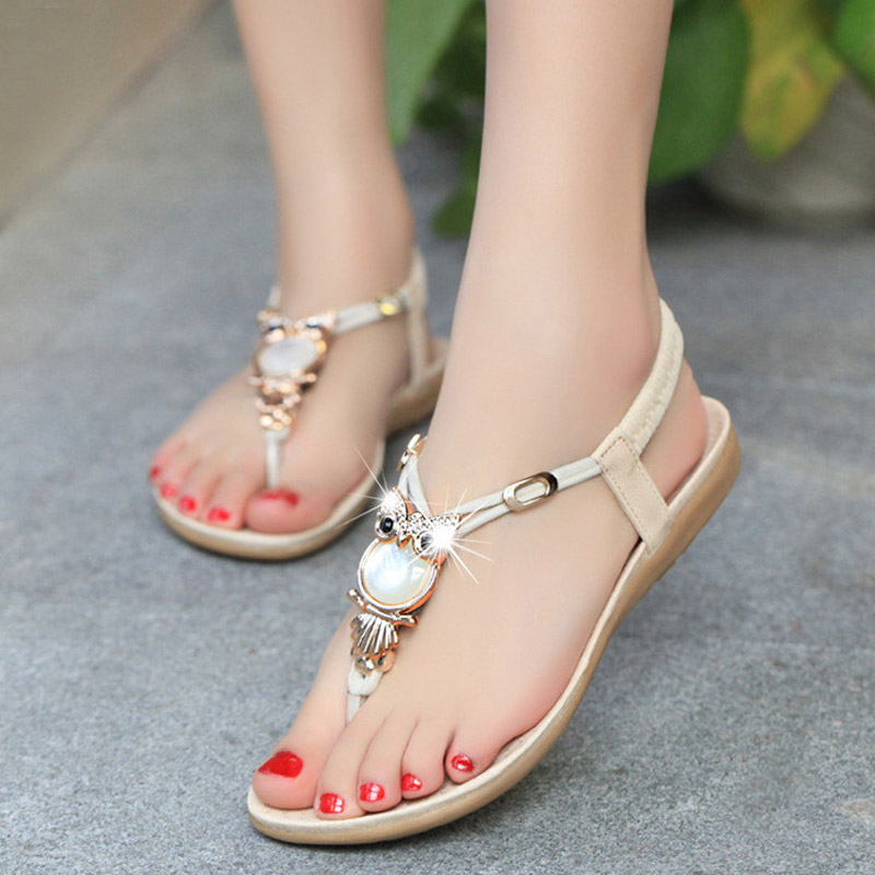 Women sandals 2018 Comfort Sandals Women Summer Classic Rhinestone Fashion Flat Plus Size Sandals Size 36-42 classic leather sandals classic leather sandals women sandals summer sandals