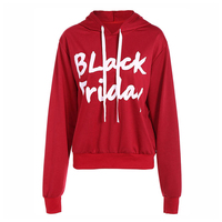 Autumn Winter Black Friday Letter Print Hooded Women S Long Sleeve Sweatshirt For Ladies Red