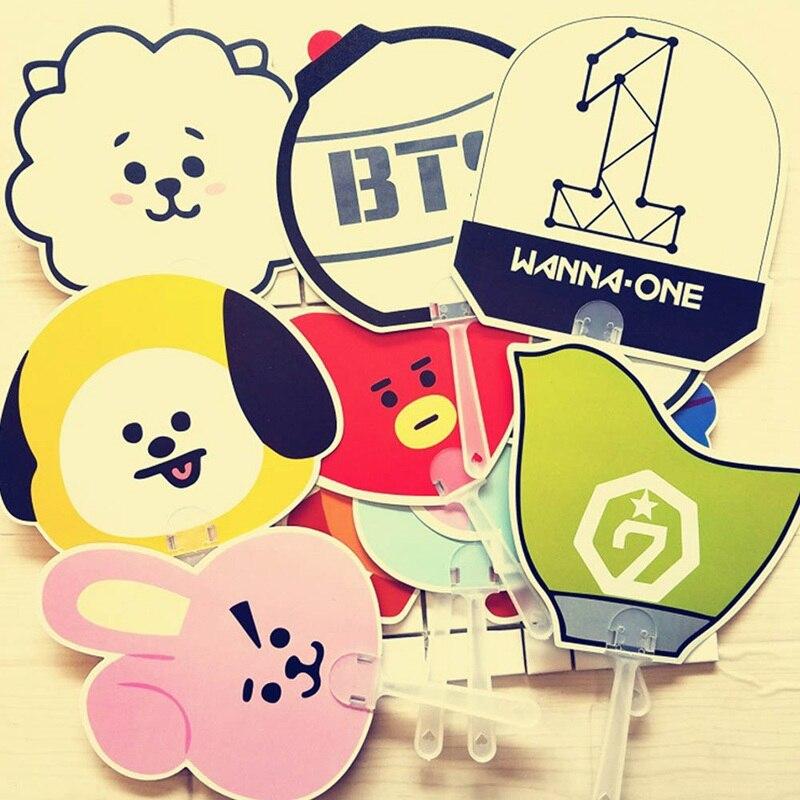 Cute Cartoon Animal Bangtan Boys PVC Portable unfolding Hand Fan for party gift Fan cool summer Gift