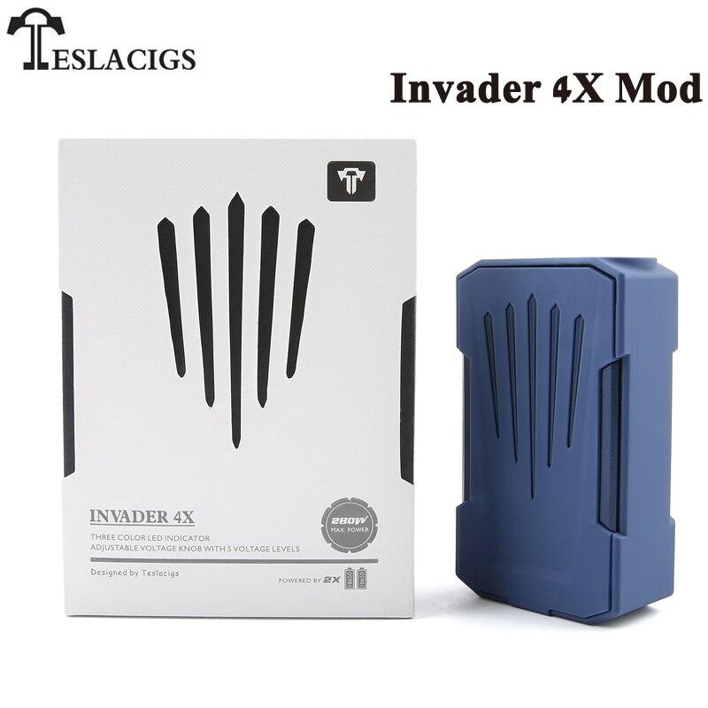 Original Tesla Invader 4X 280W Teslacigs Invader 4X VV Electronic Cigarette Box MOD Vape Support Invader