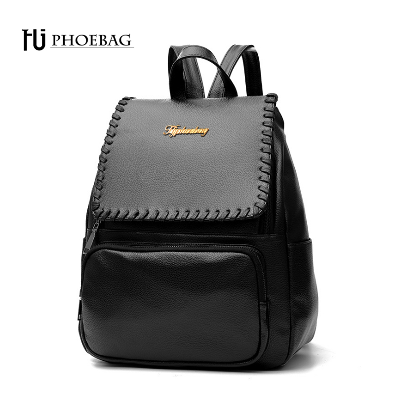 HJPHOEBAG Brand fashion women backpack casual simple teenagers school bag PU leather computer bags new travel backpacks Z-K81 tcttt new 2016 travel bag women laptop backpacks girl brand rivet backpack fashion chains knapsack school bags for teenagers