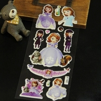 reward stickers 10PCS/ lot Mixed cartoon princess Sofia foam wall stickers toys / children's cartoon bubble stickers decoration