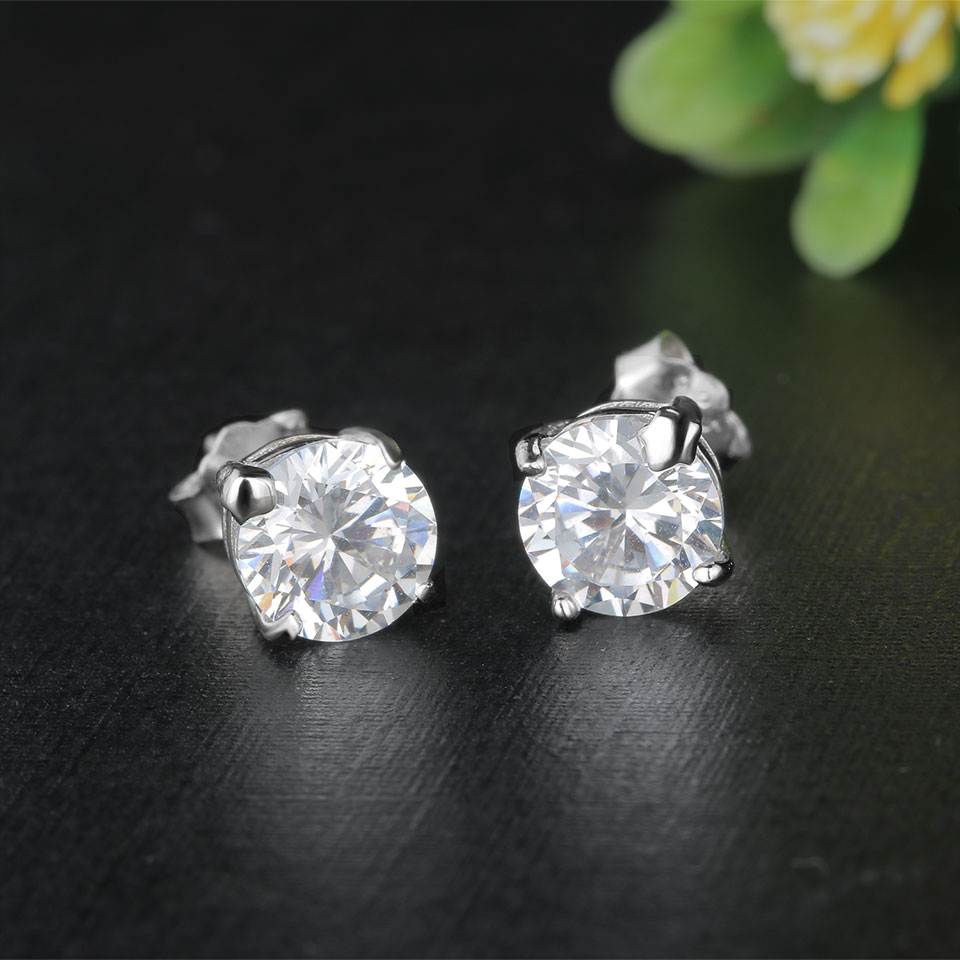 af626a32a Kuololit 925 Sterling Silver Cubic Zirconia Stud Earrings For Women ...