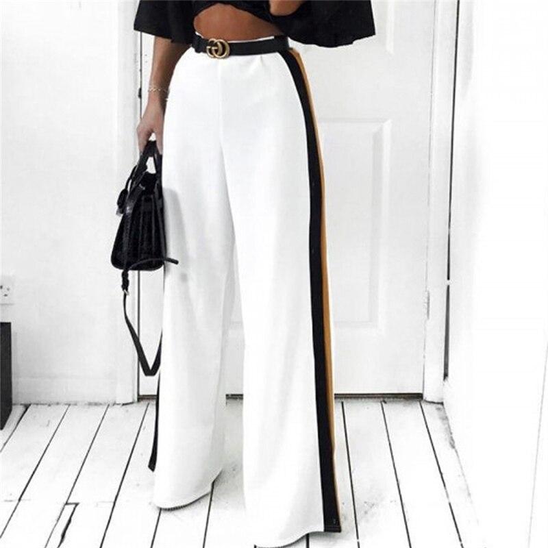 New Fashion Women High Waist Wide Leg Long Pants Casual Side Stripe Straight Pants Elastic Waist Trousers OL Femme Elegant Pant