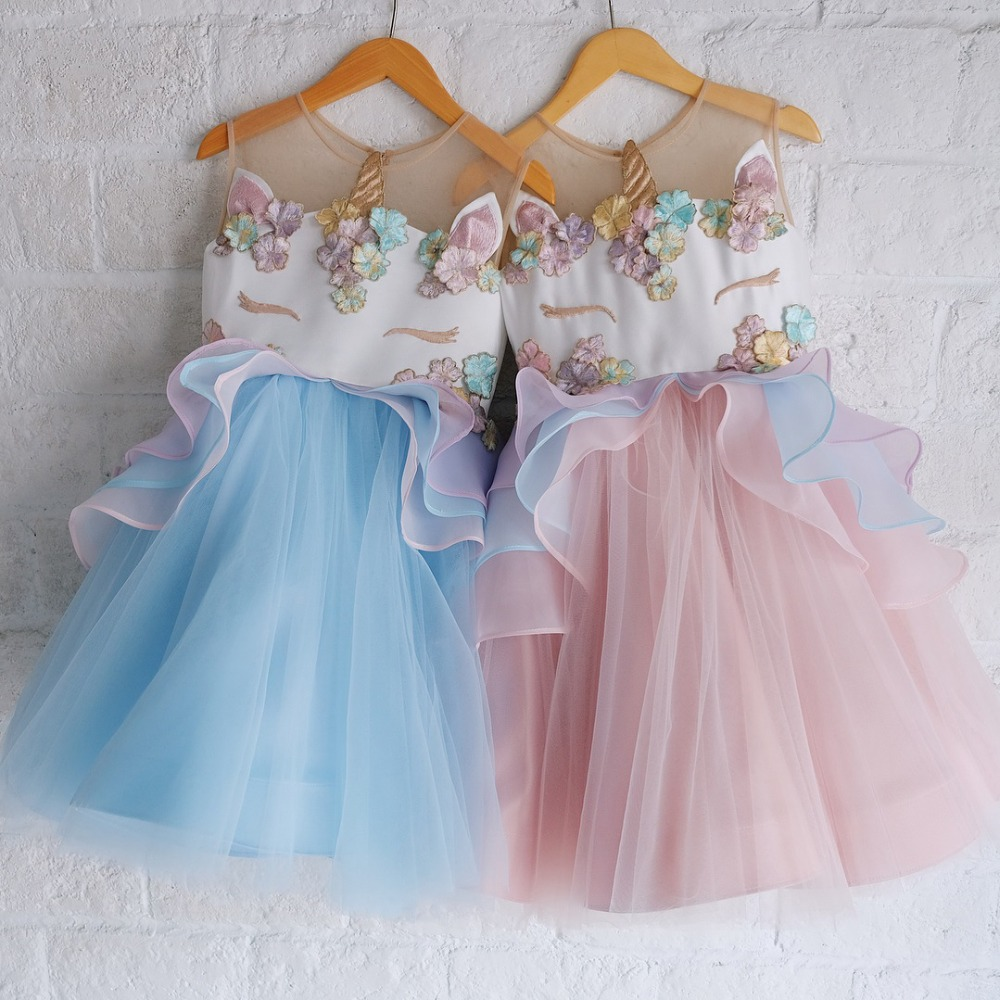 Fancy Kids Summer Dress for Girls Embroidery Flower Ball Gown Baby Girl Princess Dresses for Party Costumes vestido unicornio 2018 kids summer unicorn dress for girls embroidery flower ball gown baby girl princess dresses for party unicornio costumes