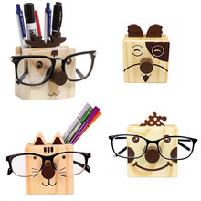 XRHYY Humorous Design Wood Multifunction Novelty Eye Glasses Pencil Cup Pen Holder Wooden Desktop Organizer / Cell Phone Stand(China)