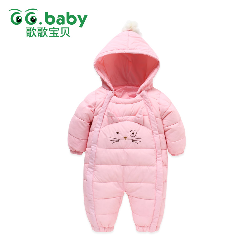 Thick Winter Overalls Cotton Baby Girl Clothes Romper Zipper Hooded Newborn Baby Boy Clothes Baby Rompers Warm Overalls Snowsuit newborn baby romper winter clothes hooded cotton outdoor roupas para recem nascido long sleeve baby boy winter thick 607022