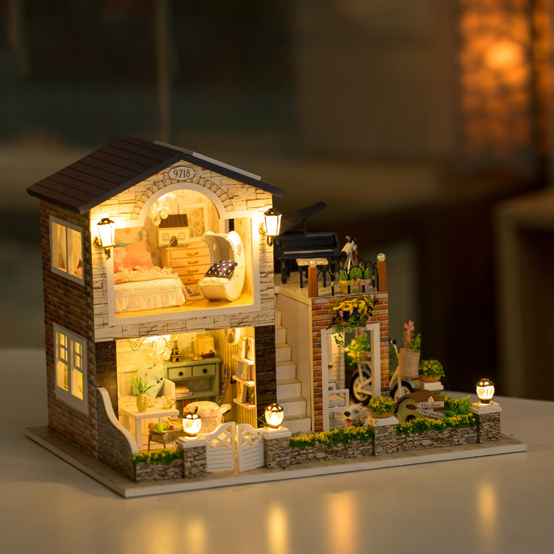 DIY Doll House With Furniture LED Light Mini Dollhouse Villa Model Romantic Country Handmade Toys Gift For Kids 13839 #E