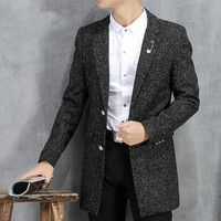 Mens Business Casual Slim Fit Long Blazer Jacket For Men Spring Autumn Masculine Blazer Homme Trench Coat Male Black Red Grey