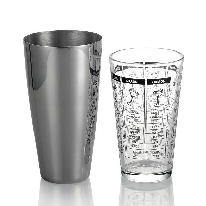 Boston Cocktail Shaker and Strainer Set Professional Bartending Supplies Silver Cup and Pint Glass