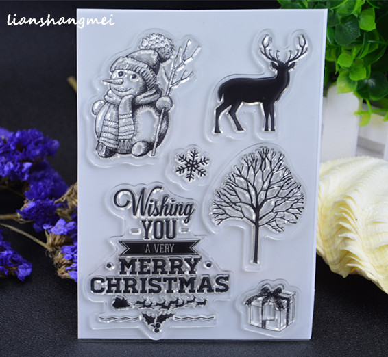 merry Christmas / snowman Transparent Clear Silicone Stamp/Seal for DIY scrapbooking/photo album Decorative clear stamp lovely animals and ballon design transparent clear silicone stamp for diy scrapbooking photo album clear stamp cl 278