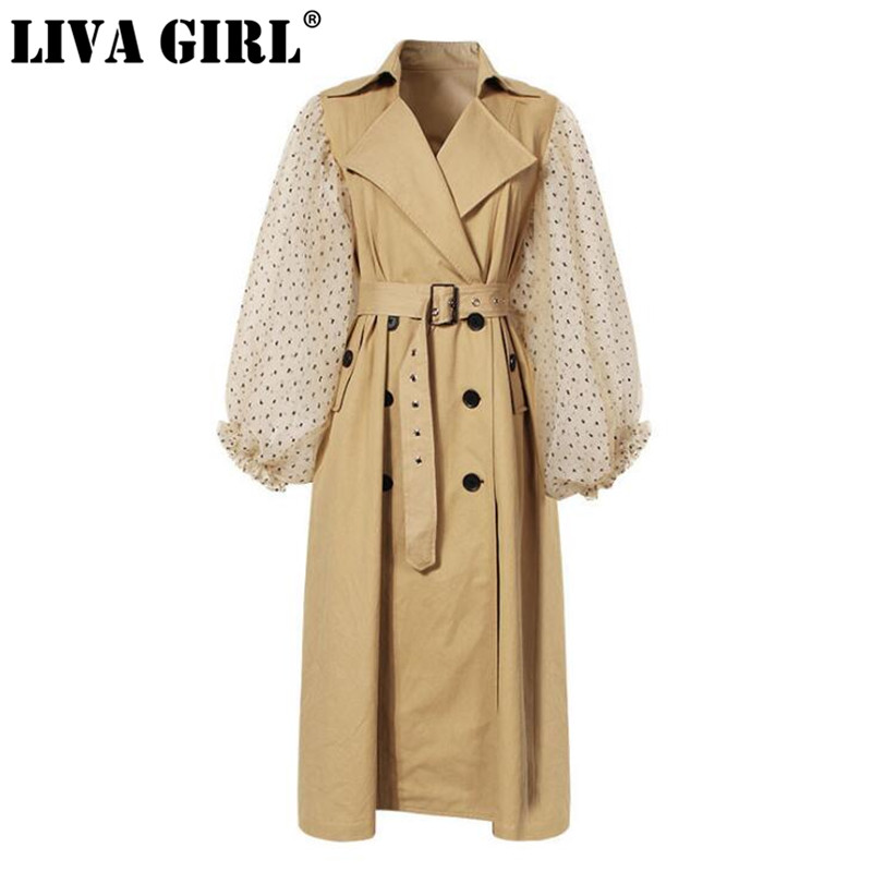 LIVA GIRL 2018 New Autumn Winter Lapel Long Puff Sleeve Sashes Dot Mesh Stitching Loose Long