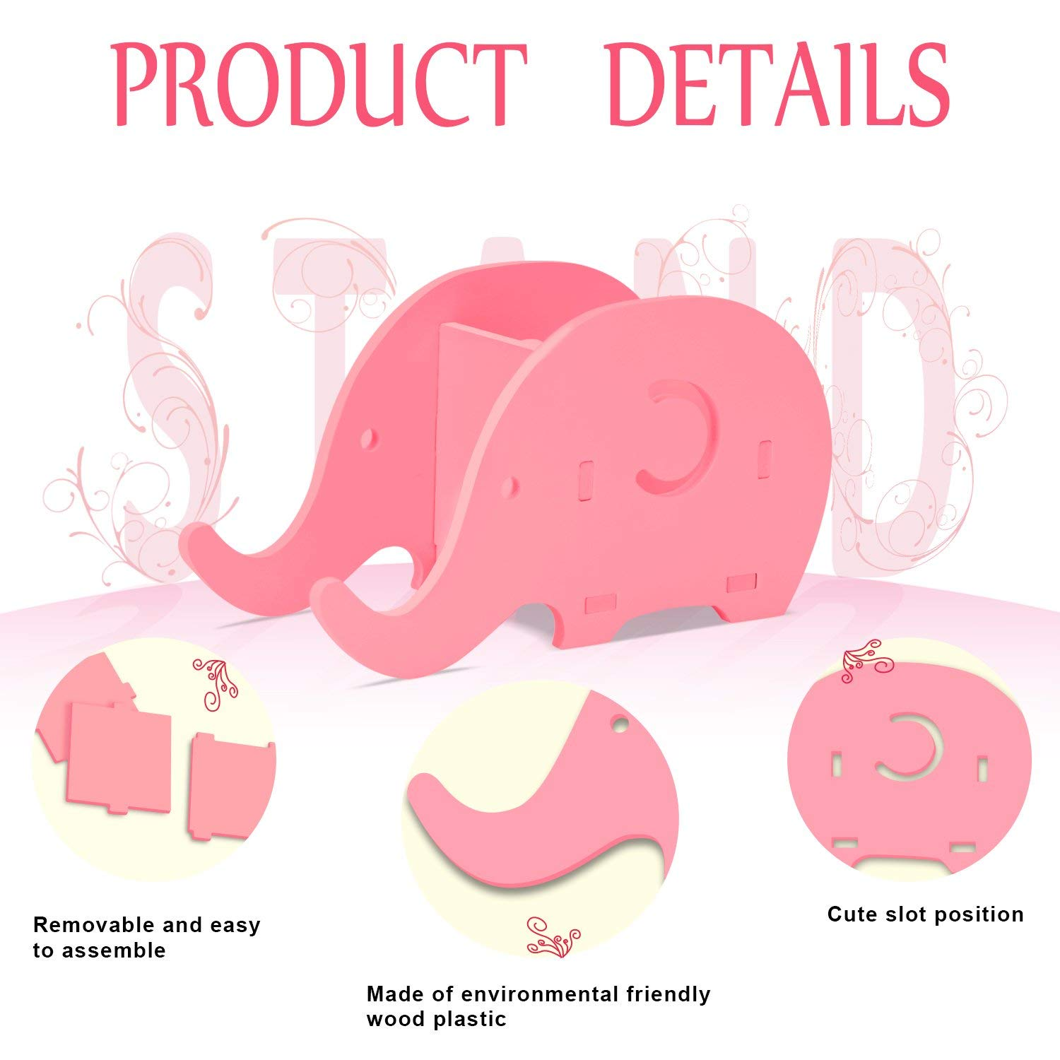 Desk Accessories & Organizer Pen Holders Cell Phone Stand Cute Elephant Phone Stand Tablet Desk Bracket With Pen Pencil Holder Compatible Smartphone Desk Decoration Mu