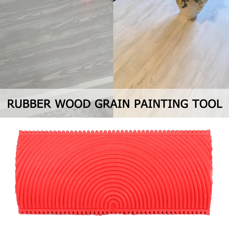 2pcs/set Red Rubber Wood Grain Paint Roller DIY Graining Painting Tool Wood Grain Pattern Wall Painting Roller Home Tool