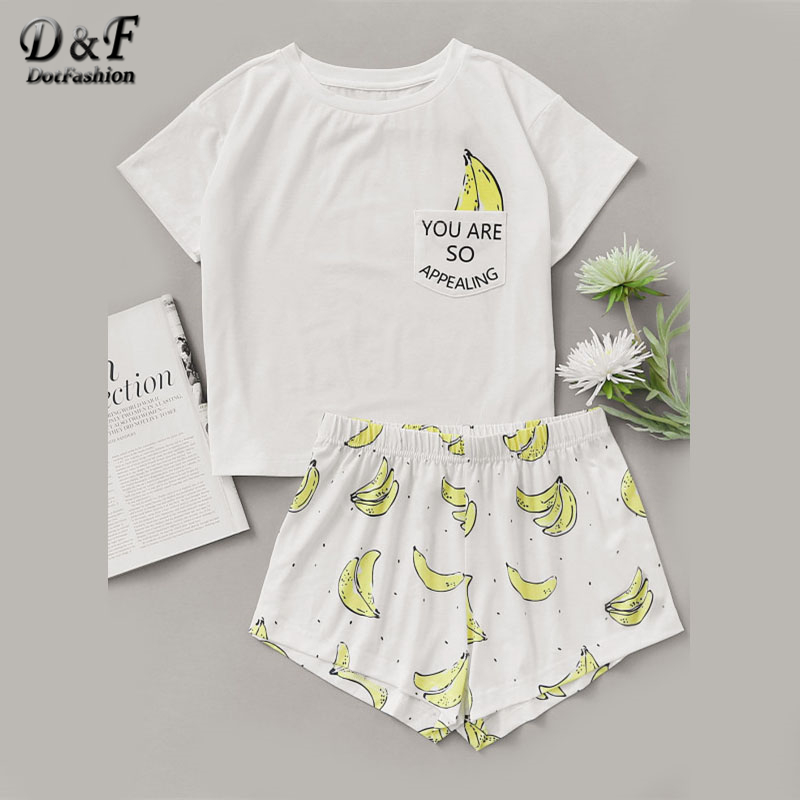 Dotfashion Banana Print Pocket Front Top With Shorts   Pajama     Set   Ladies Short Sleeve Cute   Pajama     Set   2019 Stretchy   Pajama     Set