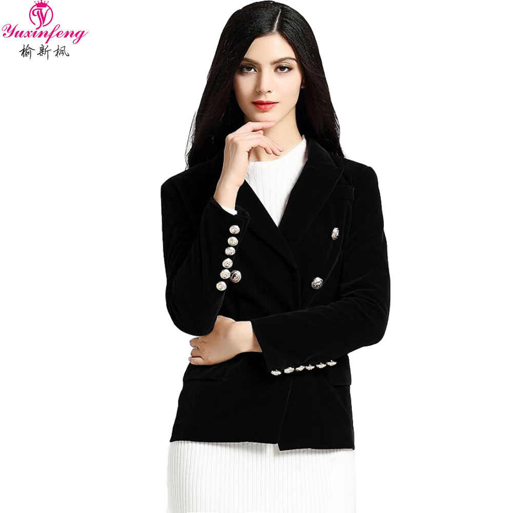 7831ed6e3a4 ... Yuxinfeng 2019 Spring Black Wine Red Velvet Blazer Women Long Sleeve  Buttons Suit Jacket Office Ladies ...