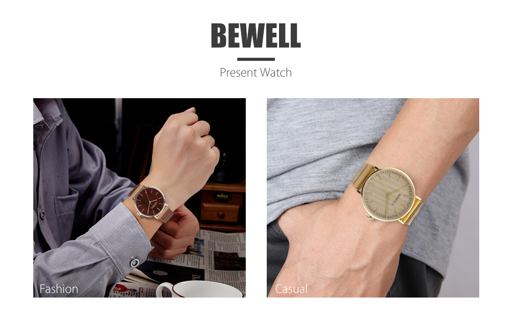 BEWELL ZS - W001S Male Quartz Watch Wooden Leather Strap Wristwatch