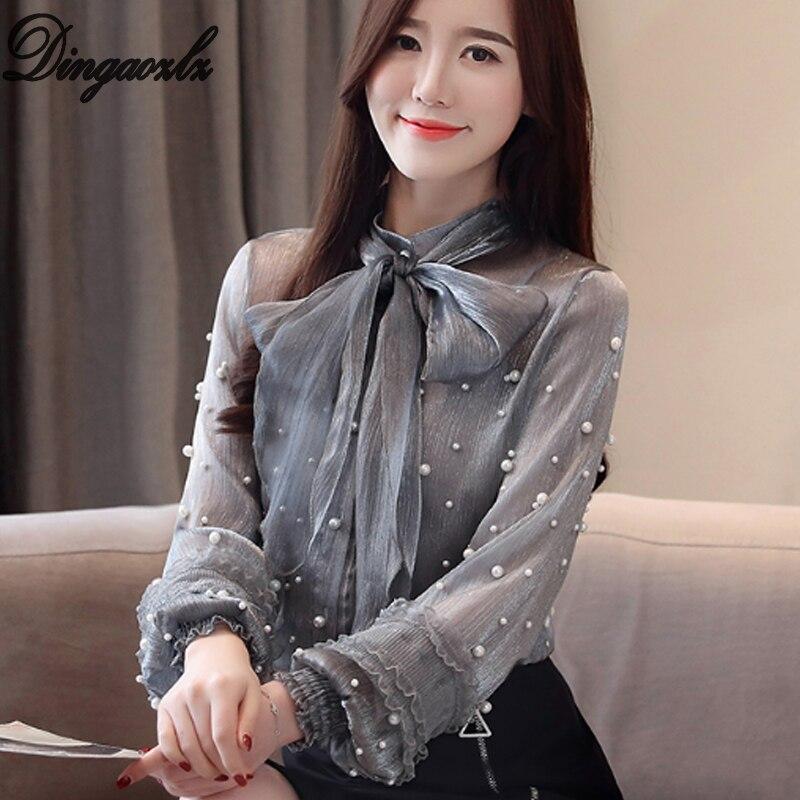 Dingaozlz Spring Women clothes New Fashion Beaded Chiffon   Blouse     Shirt   Lantern Sleeve Bow tie Casual Top Blusa