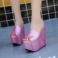 women slippers 2017 spring autumn size 34-39 ladies 16cm high heels shoes female peep toe bling wedges huarache