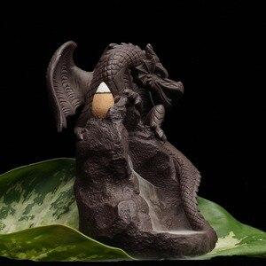 Image 5 - Incenso de cerâmica com fluxo reverso, queimador de incenso com dragão, pterosauro, criativo, para casa, jardim, sala de escritório, decoração, estátua de buda, presente