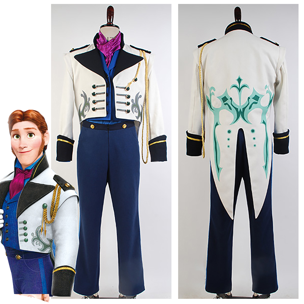Movie Prince Hans Costume Adult Prince Hans Cosplay Costumes Suit Coat Tuxedo TUX For Men Karnival Halloween