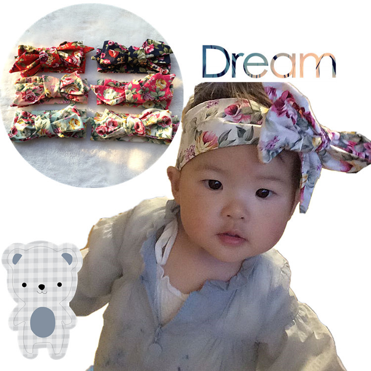 Retail Bow Headwraps Floral Print Big Bow Headband