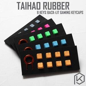 Image 1 - Zestaw gumowych klawiszy do gier taihao gumowany podwójny zestaw klawiszy Cherry MX profil oem połysk zestaw 8 magenta jasnoniebieski