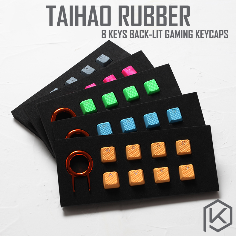 Taihao Rubber Gaming Keycap Set Rubberized Doubleshot Keycaps Cherry MX OEM Profile Shine-through Set Of 8 Magenta Light Blue