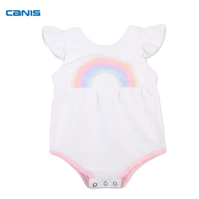 9bdd3a4673f Cute Newborn Infant Toddler Baby Girls Rainbow Romper Bebes Short Sleeve  Sunsuit Jumpsuit Outfits Costume
