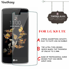 цены на 2pcs Screen Protector For LG K8 Tempered Glass For LG K8 LTE K350 K350E K350N Thin HD Toughened Protective Film + Cleaning Kit  в интернет-магазинах